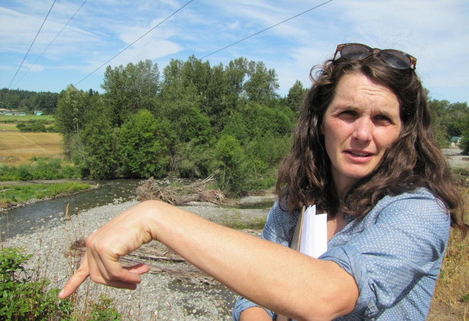 Amanda Cronin stands near the Dungeness River downstream from where water could be diverted during higher flows to fill a reservoir.