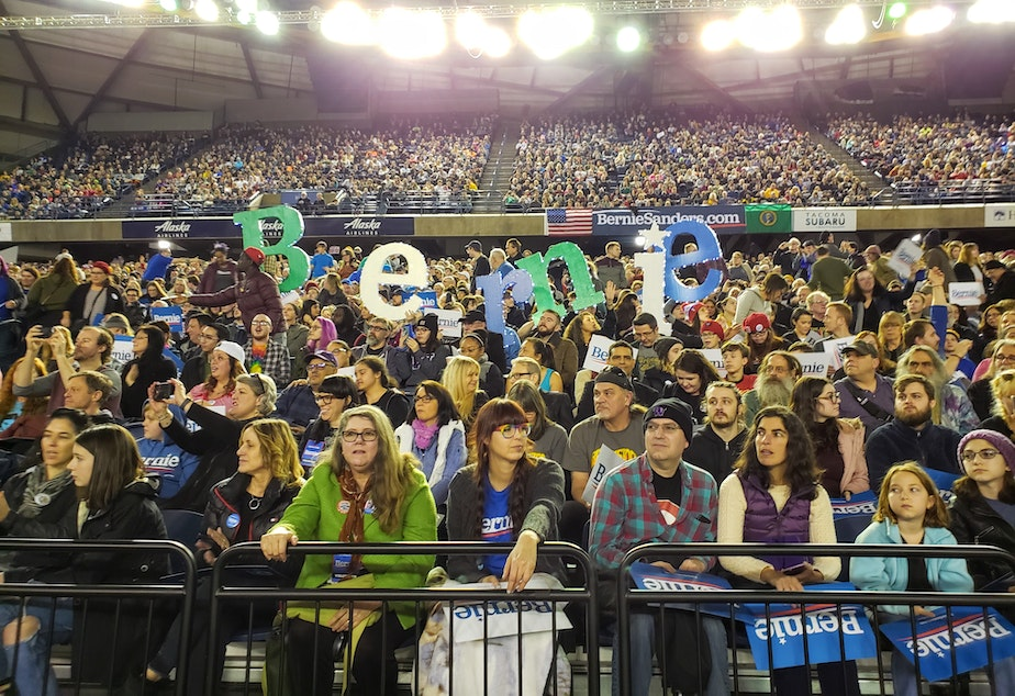 caption: Bernie Sanders supporters cheered on the Vermont Senator at his first Washington rally this election at the Tacoma Dome on Monday, February 17th, 2020.