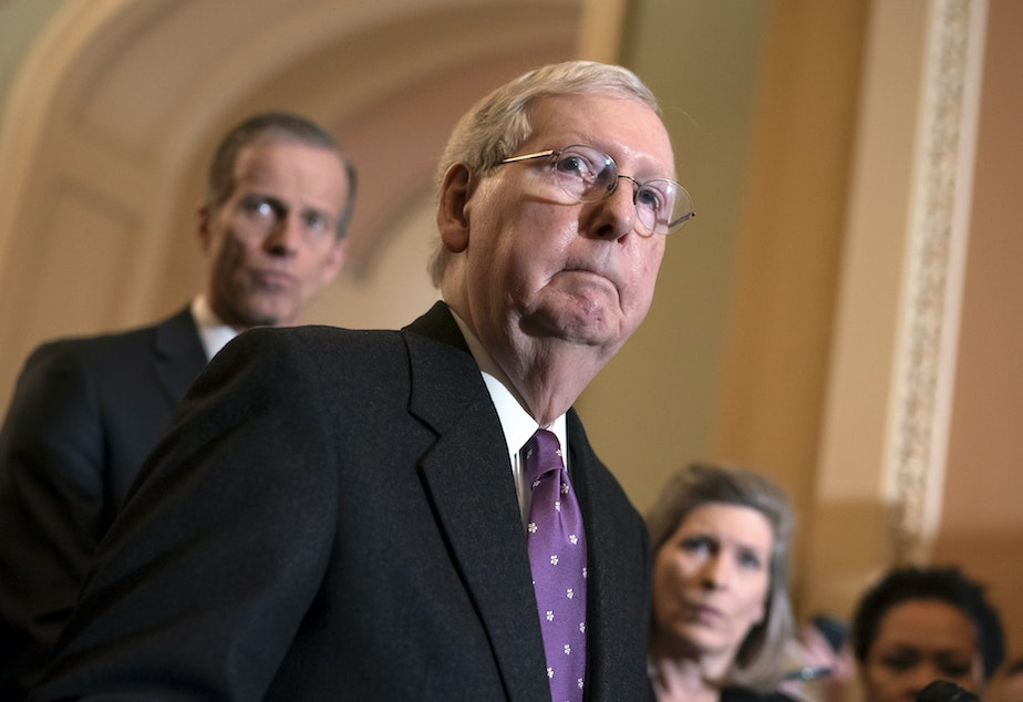 caption: Senate Majority Leader Mitch McConnell canceled this week's scheduled recess in order to take up the House bill on the coronavirus response.