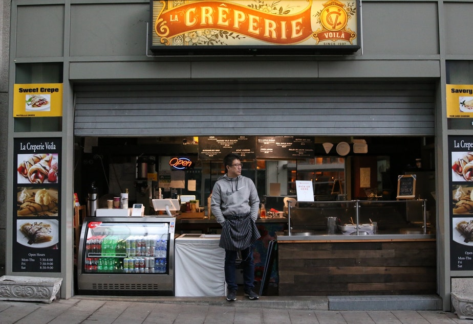caption: Terry Kim, La Creperie Voila. Kim laid off 10 workers and said he had no choice but to close up.