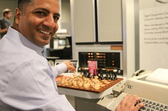 Raj Bharti, a consultant for artificial intelligence and cloud companies, plays chess against an early A.I. at the Living Computer Museum