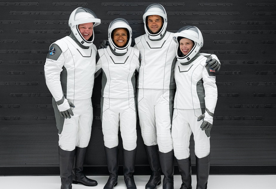 caption: In a first, the SpaceX mission set to launch Wednesday night will carry four civilians: Chris Sembroski (from left), Sian Proctor, Jared Isaacman and Hayley Arceneaux.