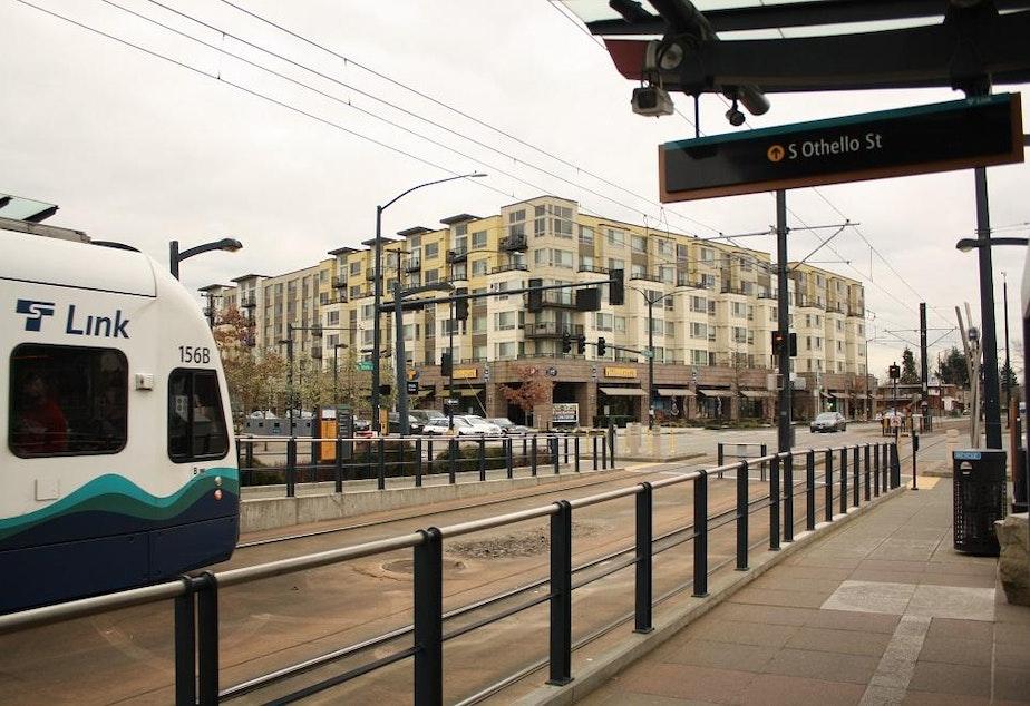 Light rail runs on the surface in Seattle's Rainier Valley.