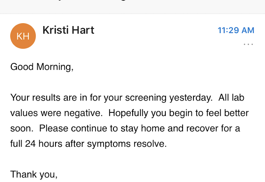 caption: The email sent to Katherine from UW Medicine informs her that she has tested negative for coronavirus.