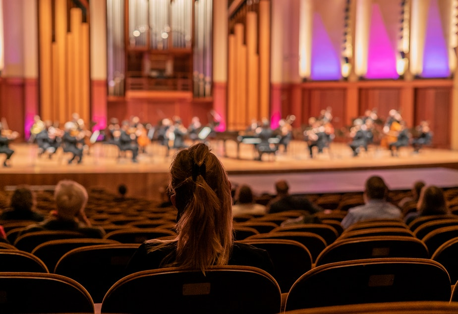 caption: Live audiences returned to the Seattle Symphony at Benaroya Hall this week.