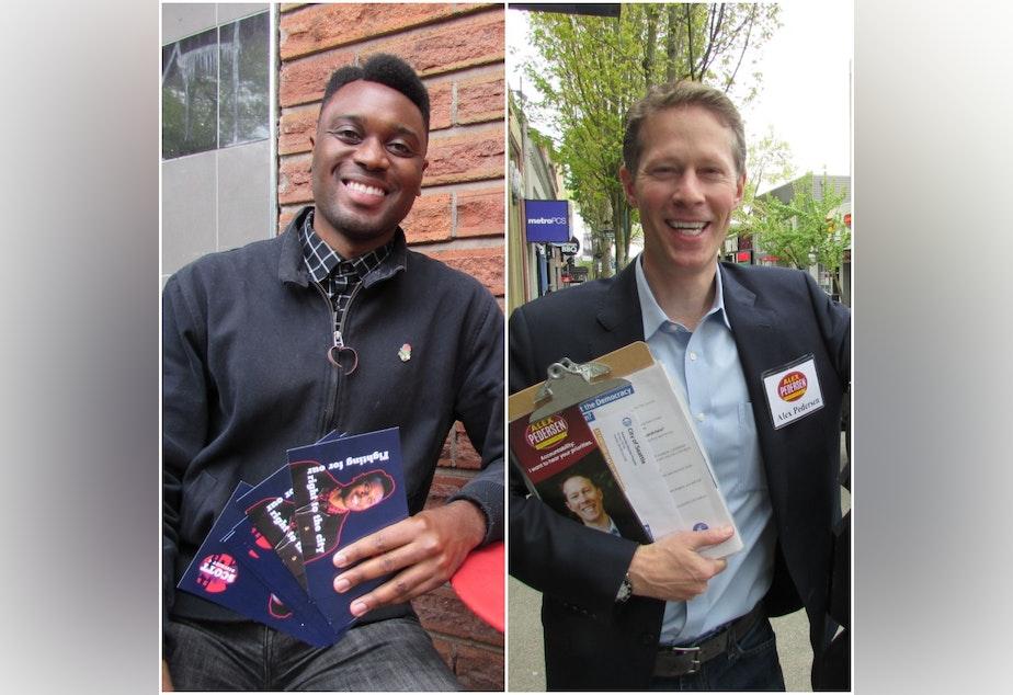 caption: Shaun Scott (left) and Alex Pedersen are among dozens of Seattle City Council candidates collecting democracy vouchers.