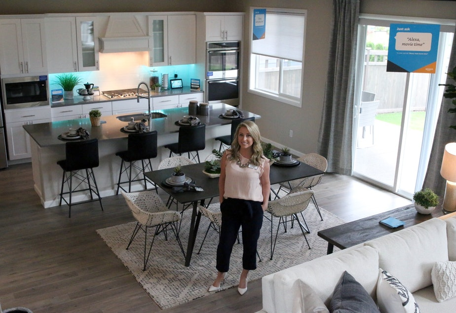 caption: Brittney Svach sells Amazon smart homes in Black Diamond, WA.