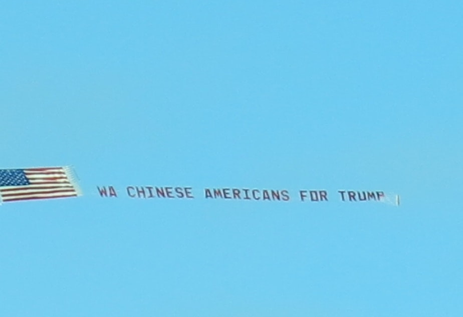 This banner flew over Seattle on Oct. 28. It reads, WA Chinese for Trump.
