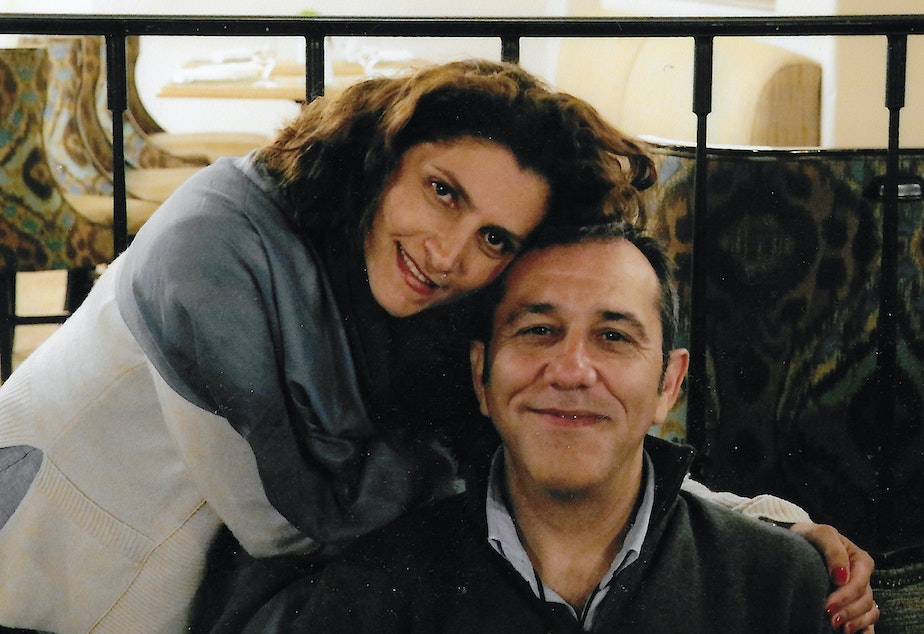 caption: Bahareh and Emad Shargi in California in June 2017.