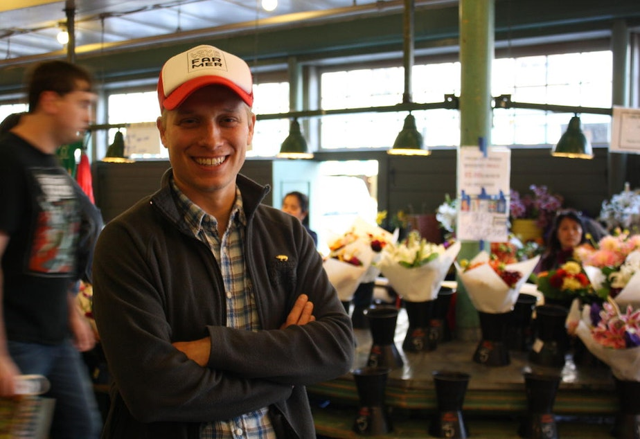caption: No, not the diner. Zack Cook, a market master at the Pike Place Market is a descendant of the Dennys, one of Seattle's first pioneering families.
