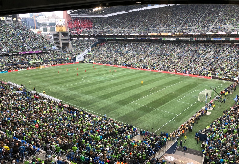 caption: 69,274 fans packed CenturyLink Field during the MLS finals  in Seattle on Sunday, Nov. 10, 2019.