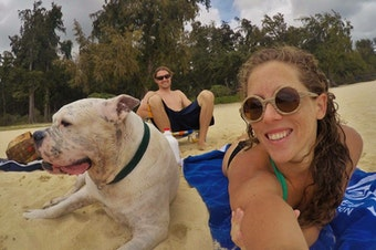 Mary Finley, Travis Sherman and Tonka at the beach. 'I'm fearful of the world that we are making for ourselves,' Travis said. 'That's why I don't want to have children.'