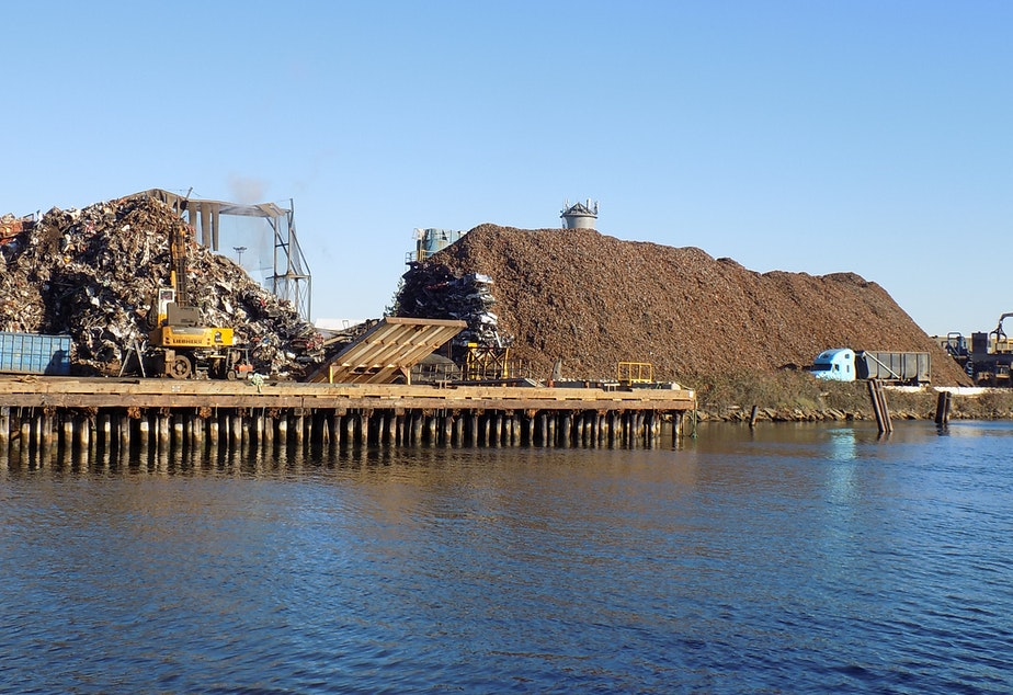 caption: Seattle Iron and Metal on Seattle's Duwamish River in November 2019.