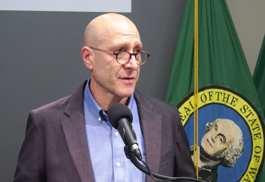 caption: Dr. Jeff Duchin with Public Health Seattle-King County speaks at a media briefing on the region's COVID-19 outbreak, Wednesday, March 4, 2020.