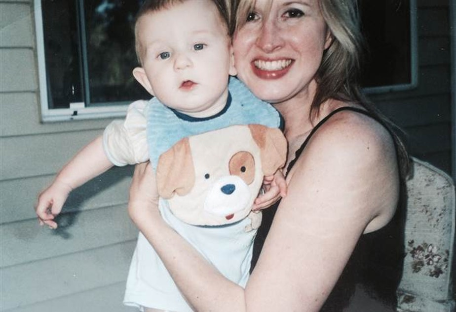 caption: Linda Dahlstrom Anderson with her son Phoenix on Father's Day