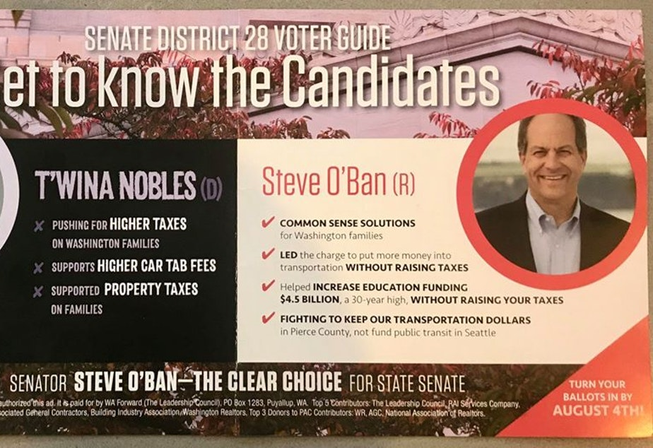 caption: Attack mailer that was sent this July against Democrat T'wina Nobles who is running against Republican Steve O'Ban in the 28th district