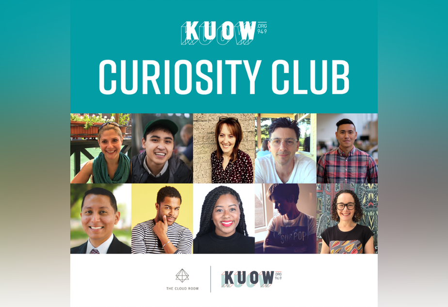 KUOW Curiosity Club Pop-Up February 2019. Top row, left to right: Ana Paula Pessotto, Joe Santiago, Marrene Franich, Patrick Holderfield, Uly Rivera. Bottom row, left to right: Abel Pacheco, Dy Johnson, Ishea Brown, Dacia Clay, Rachel Oppenheim.