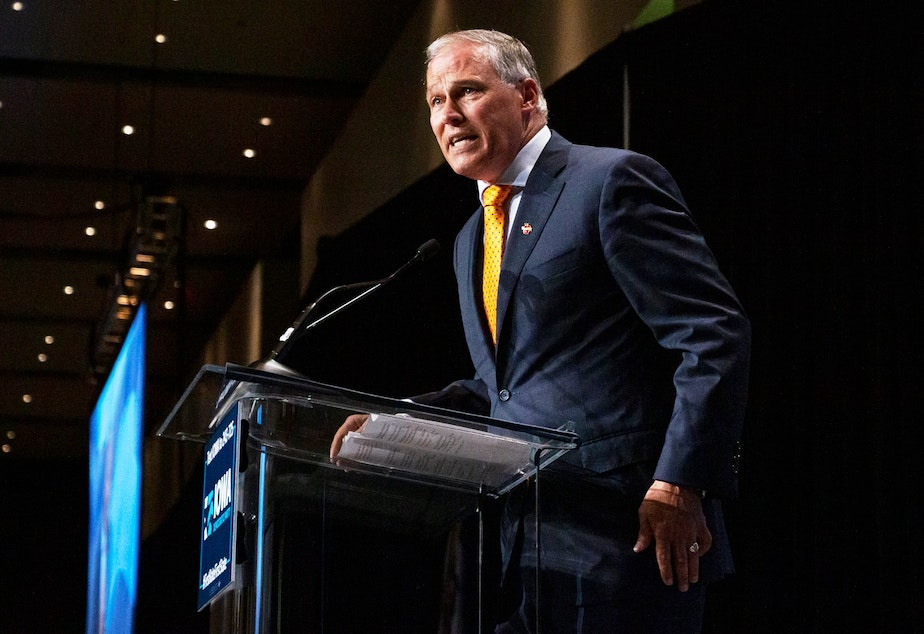 Washington Gov. Jay Inslee speaks at the Iowa Democratic Party Hall of Fame event on June 9, 2019 in Cedar Rapids, Iowa.