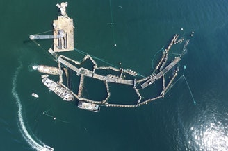 The collapsed Cypress Island salmon farm on Aug. 28