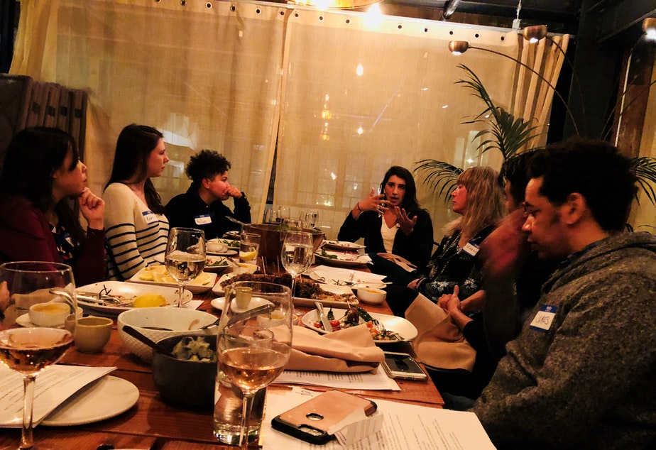 caption: Curiosity Club's inaugural cohort in-conversation at The Cloud Room in Seattle during the Club's second gathering. February 21, 2019.