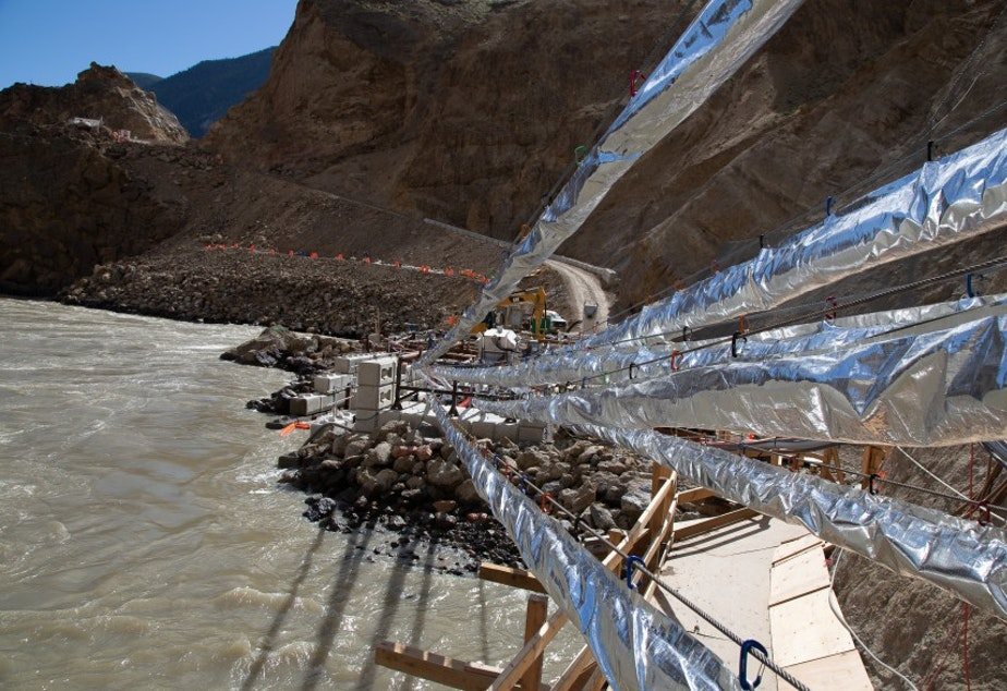 caption: A fish passage technology developed by Whooshh Innovations transported 8,200 salmon around a massive landslide on the Fraser River in a remote part of British Columbia.