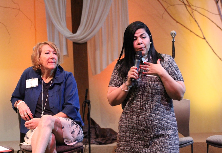 caption: Tammy Fisher, left, and Maria Barrios, right, speaking at a recent meeting of the East Side Chapter of the National Association of Mental Illness about the importance of early treatment for anxiety.