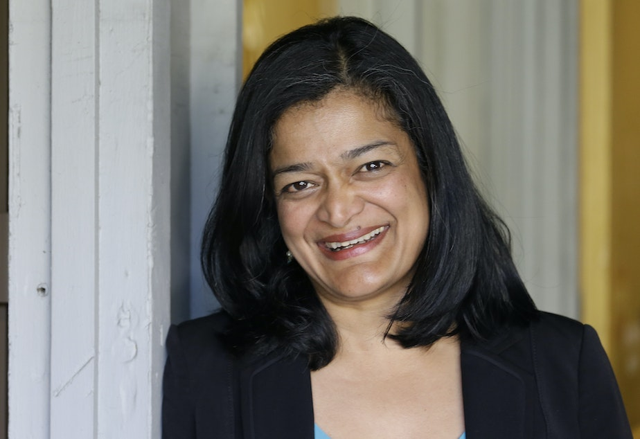 In this photo taken April 20, 2016, state Sen. Pramila Jayapal, D-Seattle, poses for a photo in Seattle.