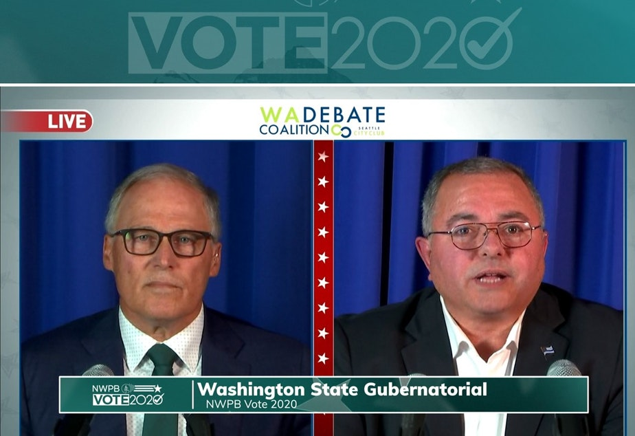 caption: Incumbent Gov. Jay Inslee met with his GOP challenger, Republic Police Chief Loren Culp, on Wednesday, Oct. 7, for a debate sponsored by the Washington State Debate Coalition and broadcast statewide.