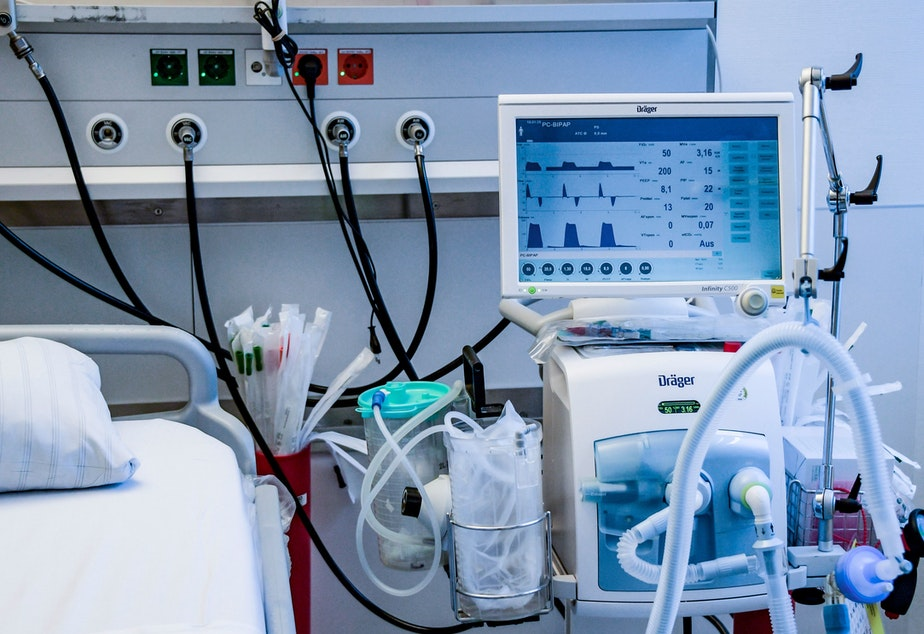 caption: A ventilator is pictured during a training in Hamburg, Germany, on March 25. The medical devices can be life-saving for patients with severe COVID-19 cases, but there aren't enough to meet the expected need in the United States.