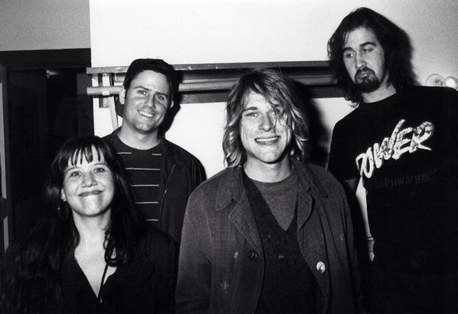 Marco Collins, second from left, with Kurt Cobain and Krist Novoselic of Nirvana  when Nevermind was released. Far left, Susie Tennant Geffen, DGC rep for Seattle (and one of Kurt's longtime friends). Click the photo for the slideshow.