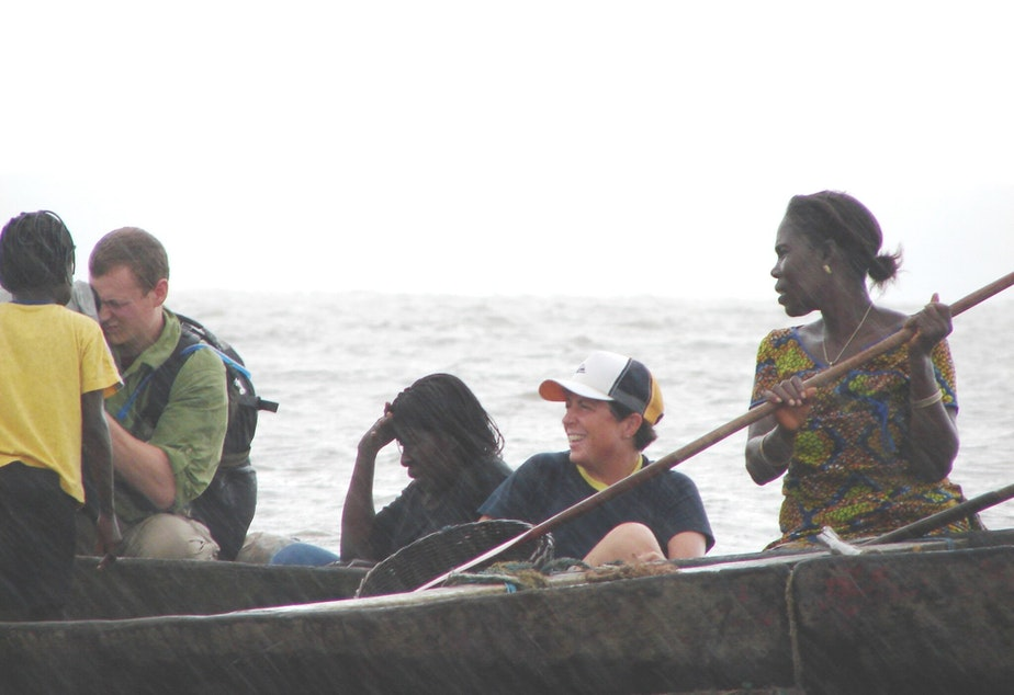 Director Sandy Cioffi and cinematographer Sean Porter conduct an interview with Niger Delta's women's oil platform leader Fanty in August 2006.