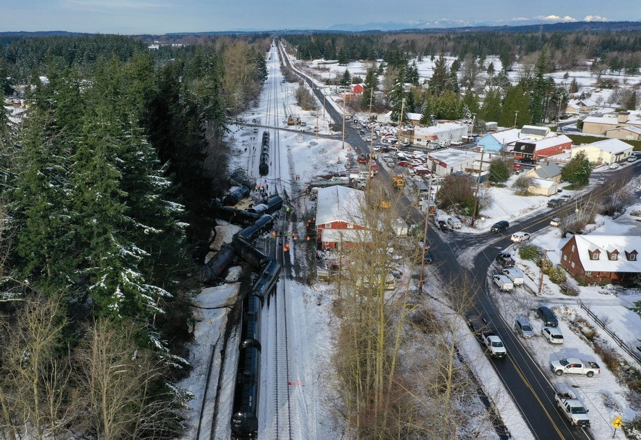 caption: The wreckage of a derailed oil train in the town of Custer, Washington, on Dec. 23