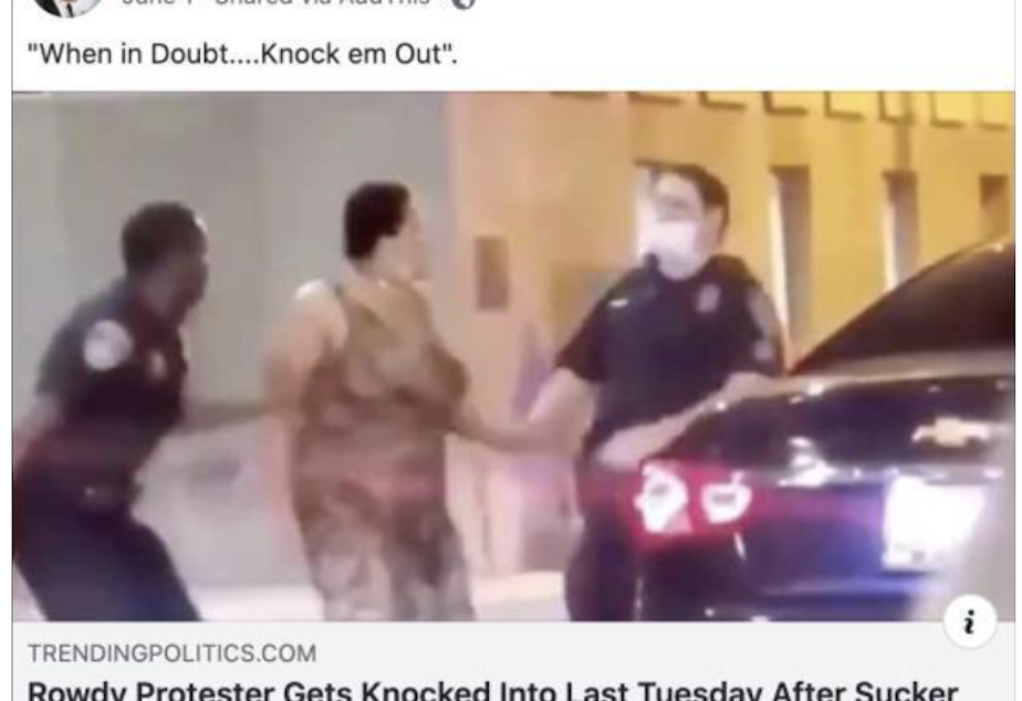 caption: Det. Michael Brown of the King County Sheriff's Office posted this video to his Facebook page on July 1, 2020