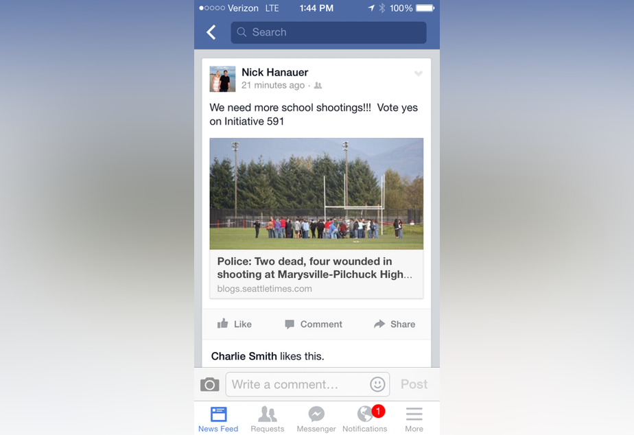 Nick Hanauer posted this link to a Seattle Times story about the Marysville high school shooting within hours of the incident. Hanauer, whose post was sarcastic, supports a separate initiative that would expand background checks.