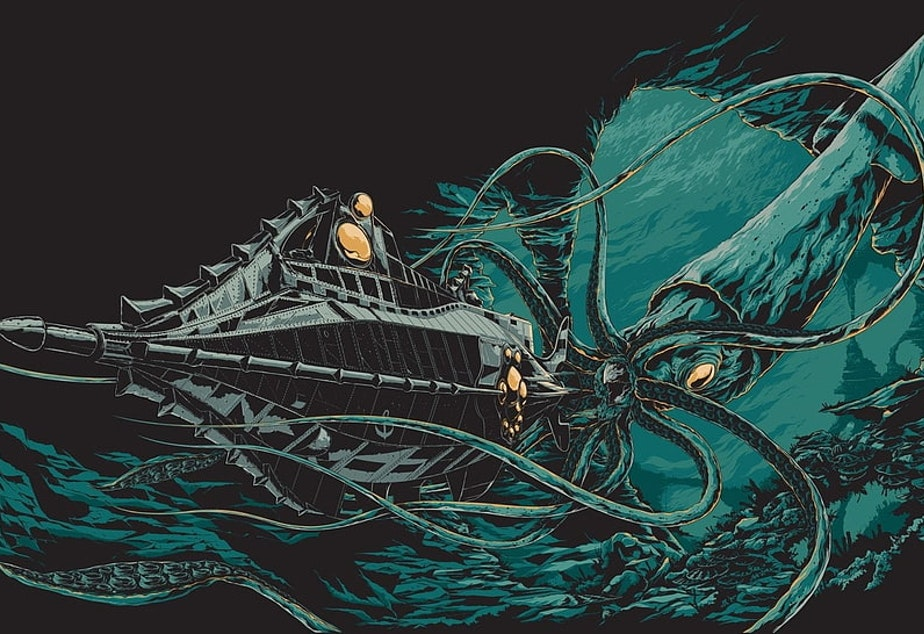 caption: The kraken illustrated on the 1954 movie poster for Jules Verne's 20,000 Leagues Under the Sea.