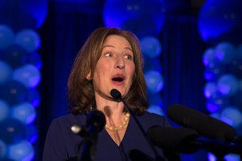 Kim Schrier speaks to a large crowd on election night, November 6, 2018, at the Hilton in Bellevue.