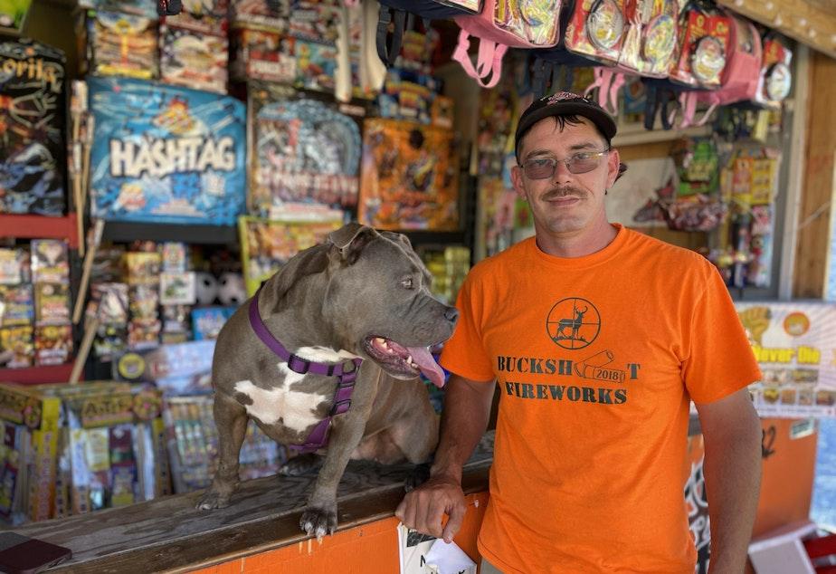 caption: Dale Varbel and his dog, Brizo.