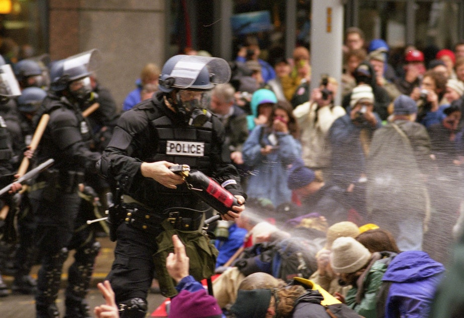 caption: WTO protests in Seattle, November 30, 1999.