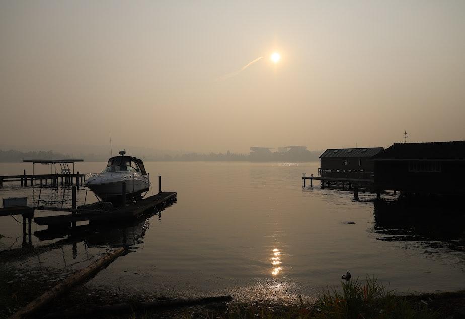 caption: View of Lake Washington from Laurelhurst in Seattle. September 11, 2020