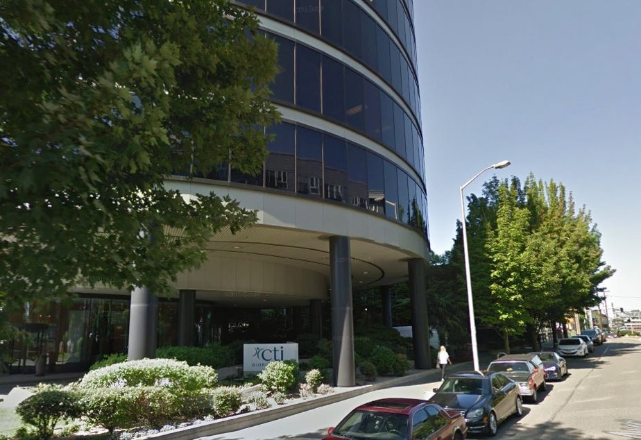caption: CTI BioPharma's offices on Western Avenue near the Olympic Sculpture Park in Seattle.