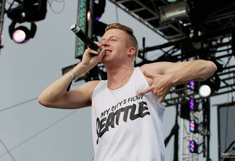 """caption: Macklemore's """"Thrift Shop"""" made Amanda Wilde's list. Here  the Seattle artist performs at the Gorge Amphitheater in George, Washington."""