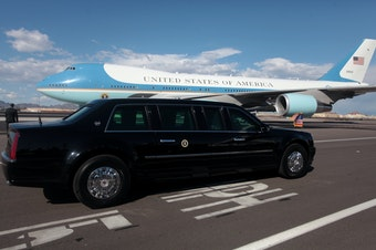 The presidential motorcade and Air Force One at Phoenix Sky Harbor Airport in Arizona earlier in 2015.