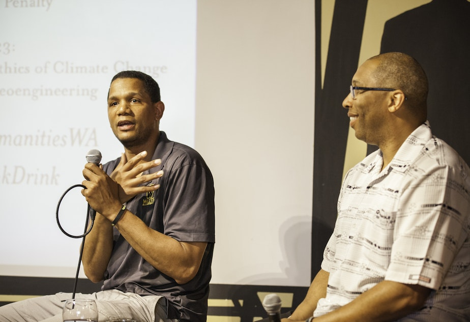 Left to right: Donald Watts and Professor Eric Davis at Naked City Brewery