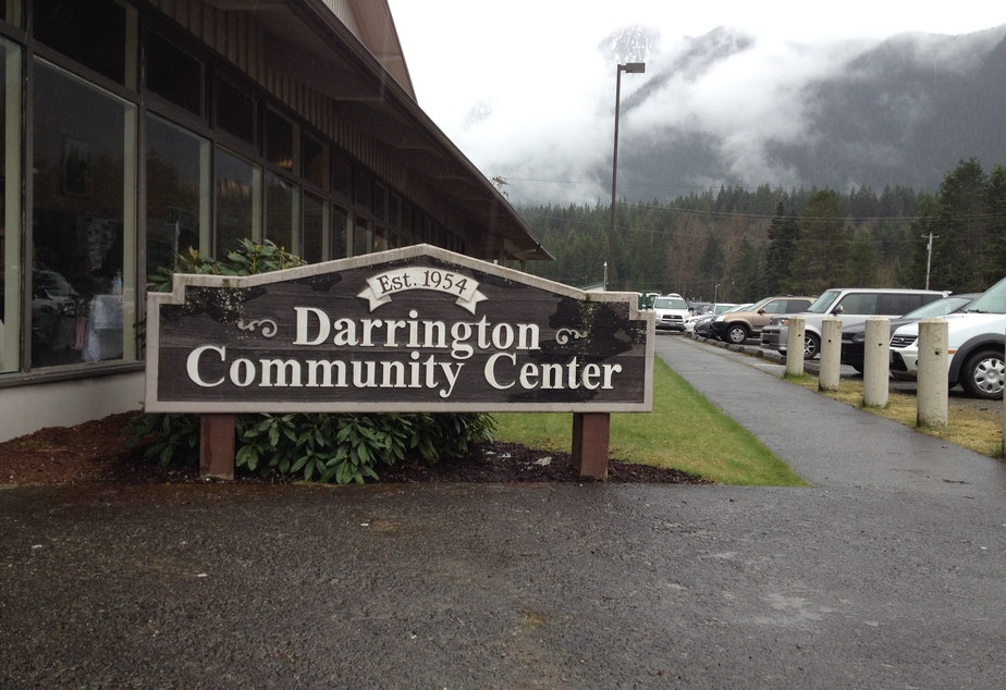 caption: Darrington Community Center hosted a meal for librarian Linda McPherson as part of the community's long-running tradition.