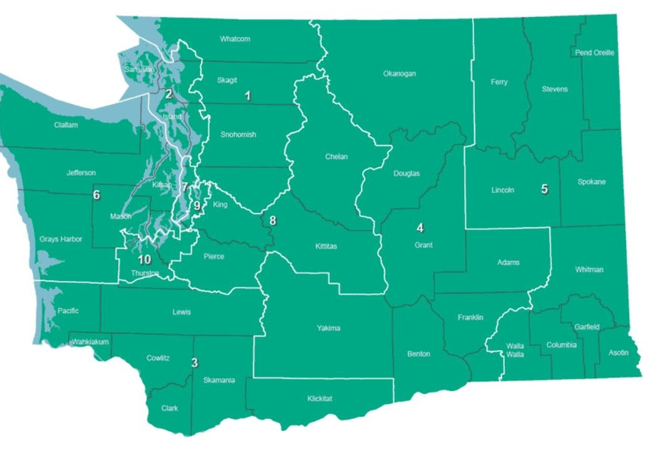 caption: Washington State's Congressional Districts as drawn after the 2010 census