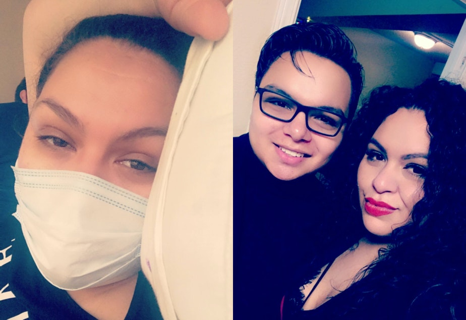 caption: Martinez (left) when she was sick with coronavirus in March. On the right, she is posing with her 17-year old son Mario who tested positive for Covid-19.