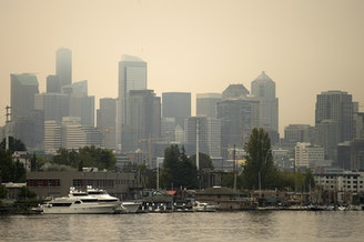 A smoky Seattle skyline is shown from N. Northlake Way on Tuesday, September 5, 2017.