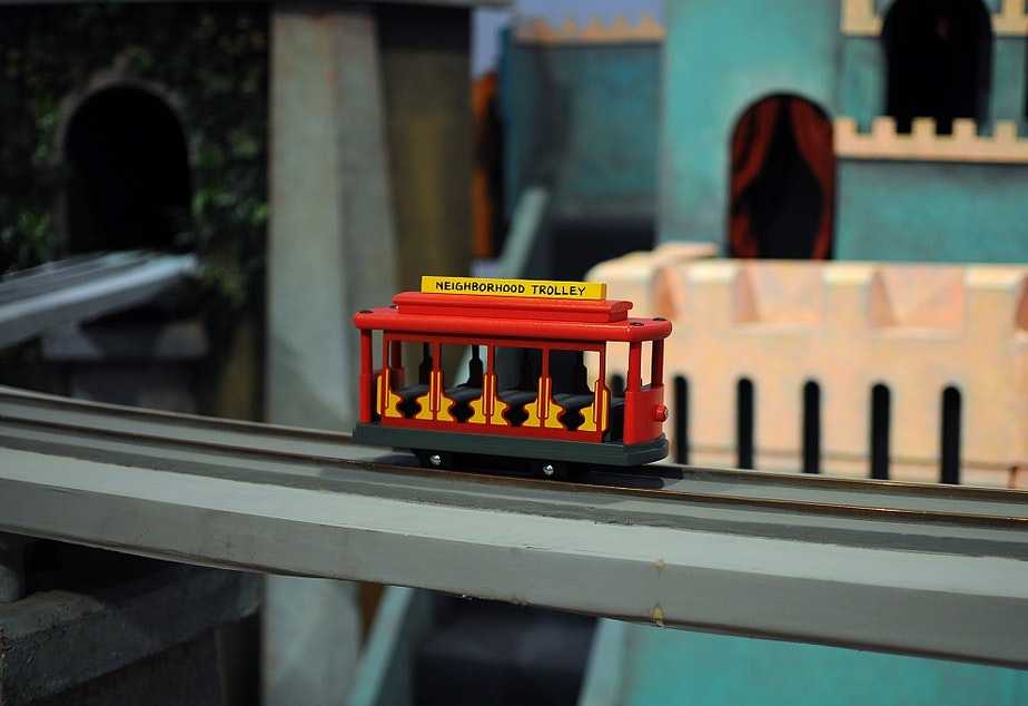 caption: Mister Rogers' Trolley (not to be mistaken for the Seattle streetcar).
