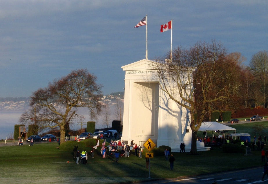 caption: Cross-border traffic at the Peace Arch and other places along the U.S.-Canada border has fallen dramatically since nonessential crossings were limited due to the pandemic.