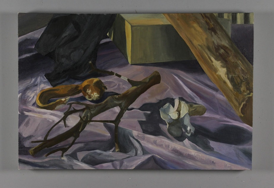 "Kelp Me (2019), Flora Davis Oil on canvas 24"" x 36"""